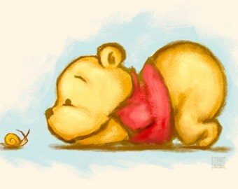 Winnie the Pooh - Baby Pooh Bear Illustration Art Print