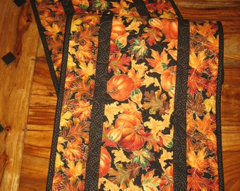 """Fall Table Runner, Autumn Pumpkins and Leaves, Autumn Fall Table Decor, Reversible, 13 x 47"""" or 13 x 70"""", Thanksgiving Runner Buffet Piano"""