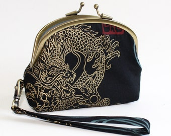Double Frame Wristlet in Black with Gold Dragons