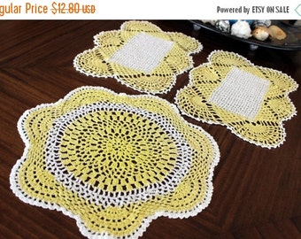 3 Sunrise Doilies  - Art Deco Hand Crocheted in White and Yellow 13014