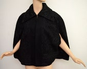 Vintage Antique Edwardian Black Wool Cape Cloak Arts & Crafts Soutache