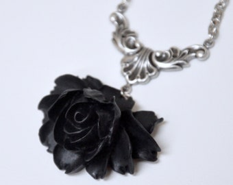 Black Rose Necklace, Antique Silver Rose Necklace, Large Rose Pendant Necklace, Mourning Jewelry, Goth Gothic Jewelry, Victorian Necklace