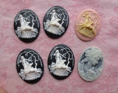 Beautiful black and white pink and gray tone plastic cameos.  Lot of 6 cameos.
