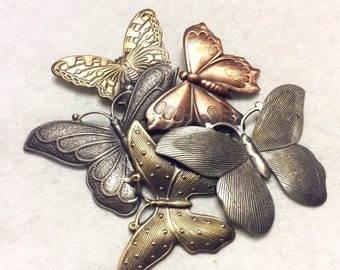 sale 25 percent Multi colored metals butterfly cluster repousse brooch pin.