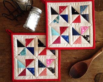 Set of Pinwheel Potholders