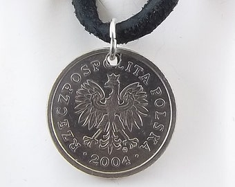 Polish Eagle Coin Necklace, 20 Groszy, Mens Necklace, Womens Necklace, Leather Cord, Coin Pendant, Birth Year, 2004