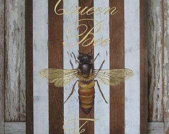 QueenBee original acrylic Painting on repurposed wood