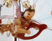 Vintage Christmas Erzgebrige Wooden Angel With Harp Ornament