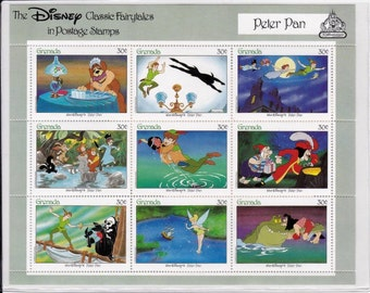 Vintage Peter Pan Collectible Postage Stamps