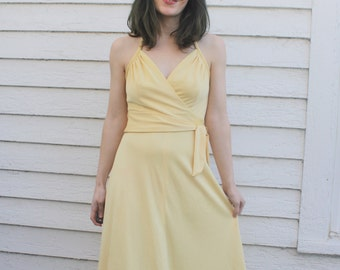 Yellow Disco Dress 70s Vintage Halter Retro Party XS Light