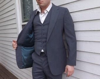 Mens Gray Suit Palm Beach 3 pc Jacket Vest Pinstripe 38 34 31 Vintage 70s
