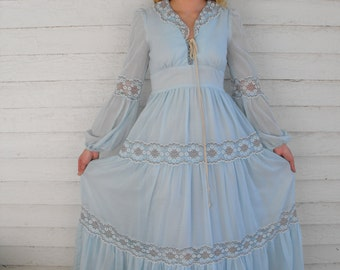 Vintage Gunne Sax 70s Blue Corset Prairie Dress 11 S Boho Lace Long Full
