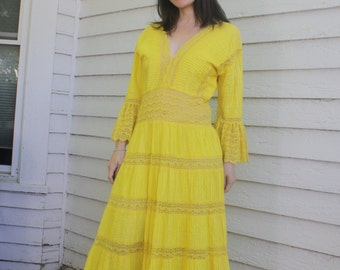Mexican Dress Yellow Maxi Sheer Lace 70s Wedding Vintage Mexico Cotton S