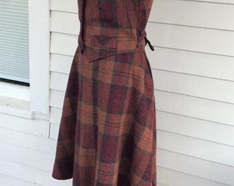 Plaid Skirt Vest Wool Earth Color Rust Red Vintage 60s 29 Waist 38 Bust M L