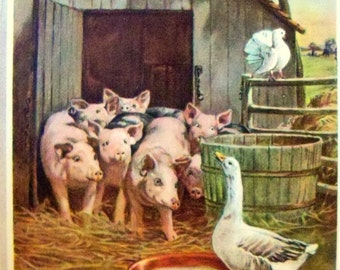 Vintage Children's Art Print,1924 art print, Barnyard art print, Baryard Animals, Pigs Art Print, Goose in Barnyard, 1924 book plate