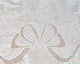 Antique Whitework Pillow Layover Sham Mono DC