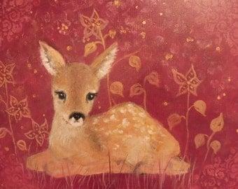 Original Painting Acrylic Art Fawn Bambi Baby Deer Wall Decoration