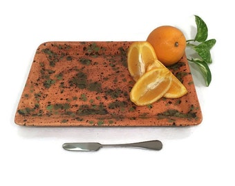 Serving Platter - Appetizer Plate - Caramel and Green