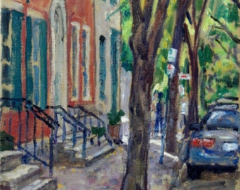 From Old Philadelphia, Spruce Street and 5th. Oil on Canvas, 8x10 Impressionist Fine Art, Signed Original Realist Philly Landscape