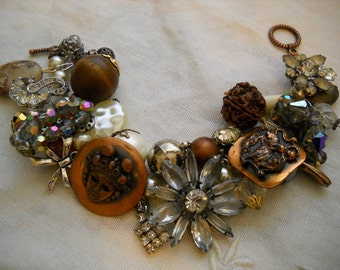 Chunky Crystal & Copper Charm Bracelet Reworked Vintage Earrings Beads Rhinestones FREE SHIPPING