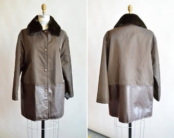 Vintage MADE in ITALY designer coat w/shearling collar