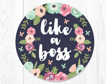Mouse Pad Boss Gift Floral Mousepad Office Desk Accessories Coworker Gift Office Supplies Like a Boss Mouse Pad Desk Decor Cubicle Decor