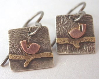 Silver Copper Brass Square Bird on a Branch Earrings