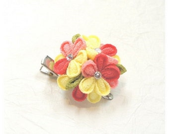 DIY Japanese Folk Art Flower Charm Fabric kit --- Japanese Craft Kit (Just use glue to make it) KR-5565-51