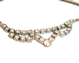 Clear Rhinestone Vintage Necklace wedding Prom Pageant Jewelry, Hollywood Regency, Glam Bling,Something Old ,Gifts for her