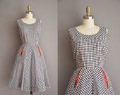 50s dress / cotton gingham dress / vintage 1950s dress