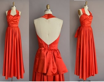 50s GORGEOUS heavy red satin heart shape vintage party dress / vintage 1950s dress