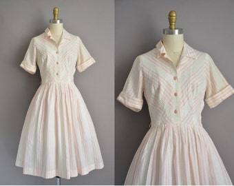 50s white cotton pink stripe vintage full skirt dress / vintage 1950s dress