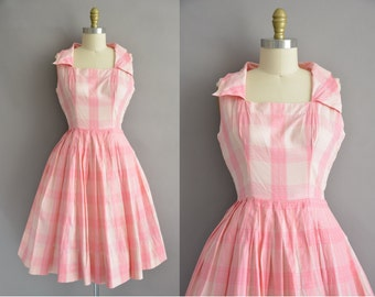 50s pink plaid cotton vintage full skirt dress / vintage 1950s dress