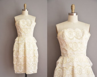 50s yellow tier lace strapless vintage party dress / vintage 1950s dress