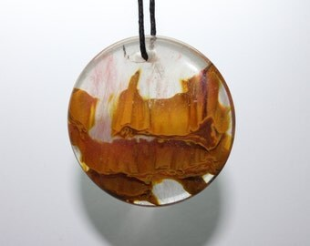 Agate Slice Focal Pendant - Beautifully stunning Gold Brown Sediment Lava Like Layer