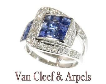 Summer Sale Van Cleef & Arpels Ring Diamond and Sapphire Mystery Set c.1940