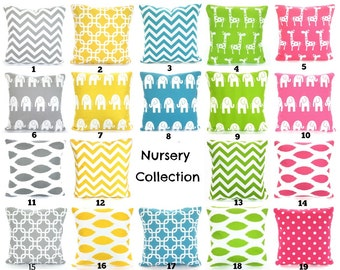 Nursery Pillow Covers, Decorative Throw Pillow, Cushions, Childrens Pillow, Elephants Giraffes, Chevron, Baby Pillows Mix & Match ALL SIZES