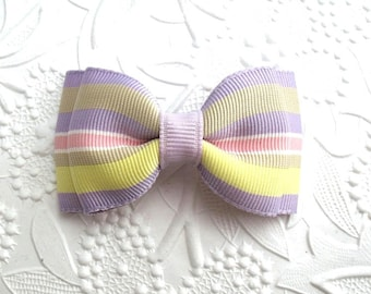 "Lavender Stripe Baby ~ Toddler ~ Girl Tuxedo Style Hair Bow ~ 3"" Boutique Hair Bow ~ Easter Bow"