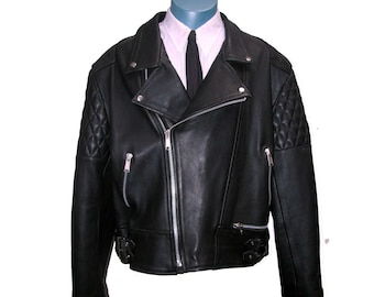 Vintage English Motorcycle Jacket Mens Black Leather Double Buckle Side Old School Punk Biker Jct with Padded Shoulder and Elbow Mns Sz 46