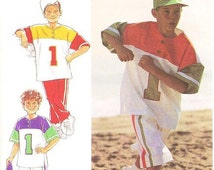 ON SALE Style Kids Pattern 2112 -  Boy's Color-blocked Baseball/Sports Separates - Top, Pants or Shorts and Cap - Sizes 9 to 14
