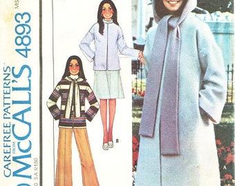 """Sz Lg Bust 40"""" to 42"""" - McCall's Coat Pattern 4893 - Misses' Unlined Coat or Jacket, Hood and Pants - Vintage 70's Marlo Thomas Pattern"""