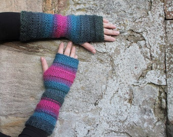 ARM WARMERS knitted chunky womens, Monsoon mittens - extra long, elbow length, gift for her, knitwear UK