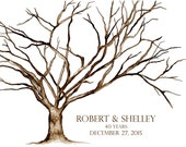 "Small (Robert and Shelley) (40 Year Anniversary) Thumbprint Cherry Blossom Tree Giclee' Watercolor Print 16""x20"" up to 125 guests Dry Mount"