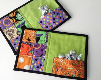 "QUILTED HALLOWEEN MUGMATS, Mini Placemats, 6  1/2"" x 10"", Traditional Halloween Fabrics, Large Coasters, Cookie Pockets,  Quilted Snack Mats"