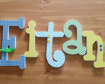Baby Name Letters, Wooden Nursery Letters, Yellow Blue and Green Theme, Baby Boy, Price PER LETTER, Nursery decor, Custom Name Letters