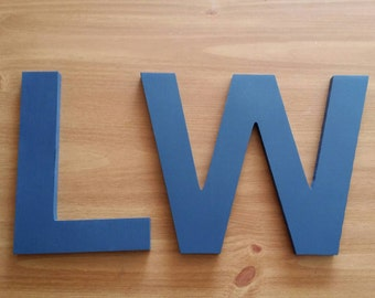 2 SIX INCH SOLID Painted  Wooden Wall Letters -Set of Two 10 inch letters in Your choice of font and color