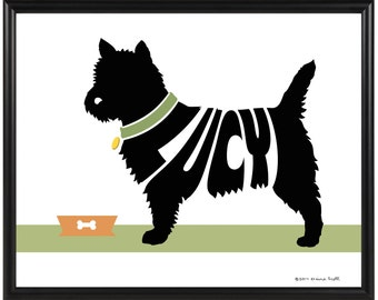 Personalized Cairn Terrier Silhouette Print, Framed 8x10 Cairn Terrier Name Art, Terrier Wall Art