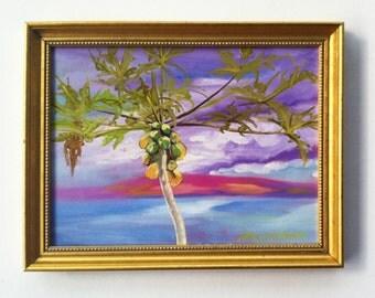 Maui Landscape Paintin tree original plein air painting Ulupalakua Mauig 9x12 papaya