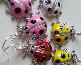 Ladybug,  enamel, earrings, children, ladybird earrings, choose colour, pink, yellow, white, red, black, silver, by NewellsJewels on etsy