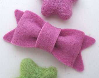 Felt hair clip No slip -Wool felt -New bow -old pink (pick your size and colour)